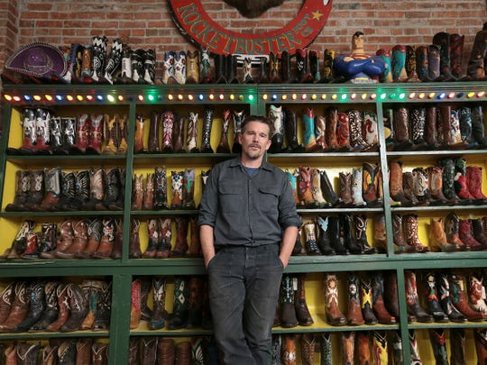 """Ethan Hawke toured Rocketbuster Boots with actor Ben Dickey in downtown El Paso Tuesday before screening their film """"Blaze"""" at Alamo Drafthouse."""