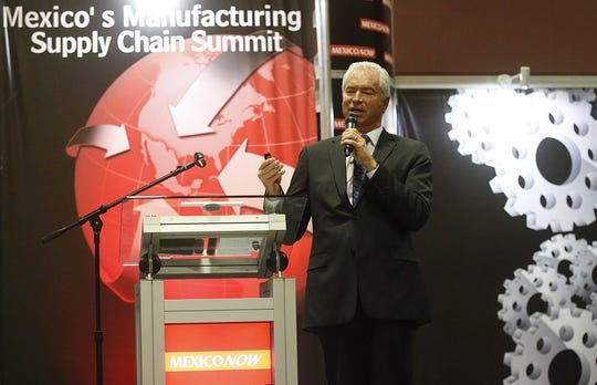 Alan Russell, CEO of the Tecma Group of Companies, speaks at a maquiladora trade show in El Paso in 2017.