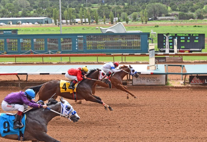 Tools In the Sky,   on the inside, will run in Monday's All American Futurity at Ruidoso Downs Race Track and Casino.