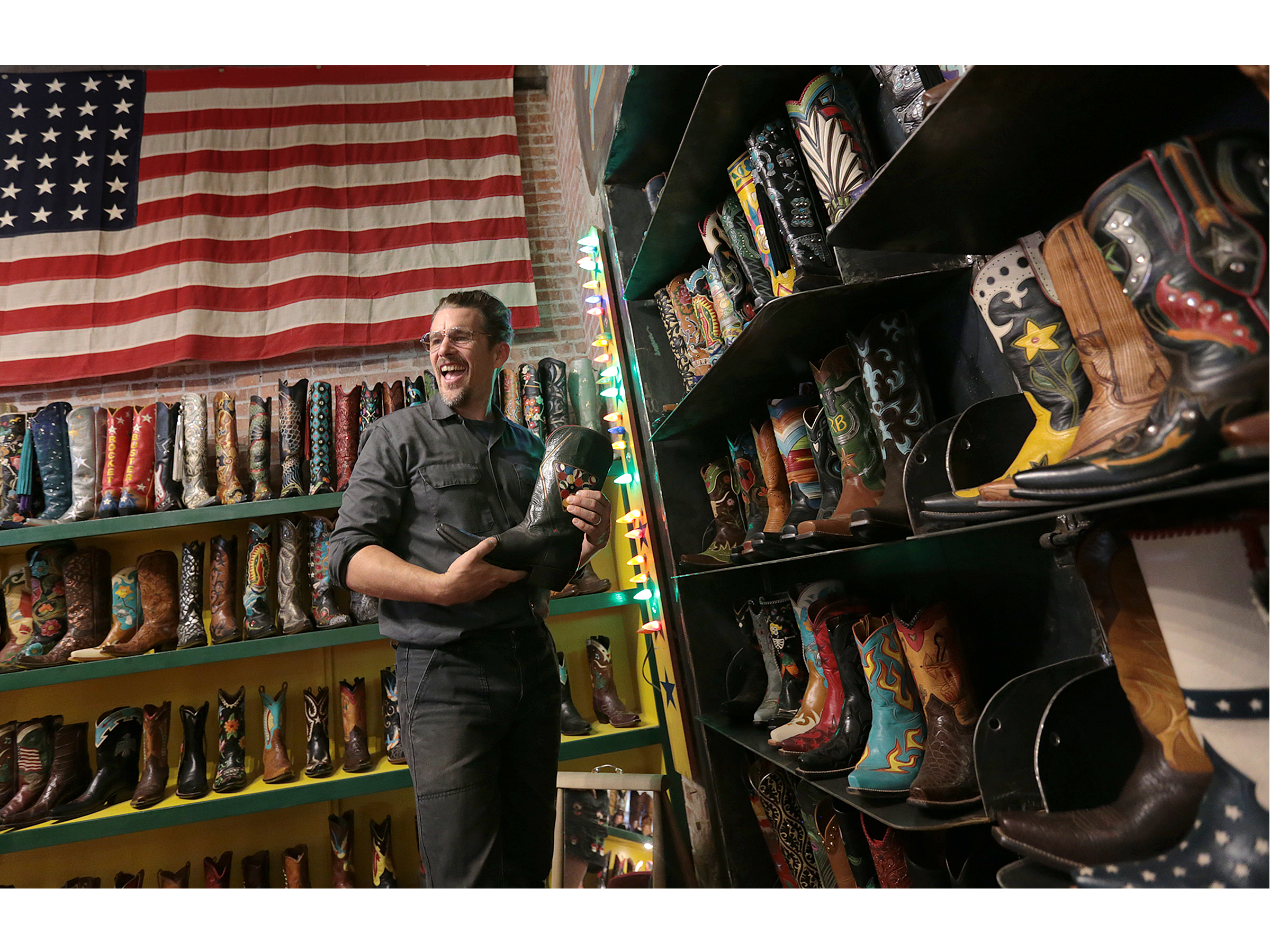 "Ethan Hawke toured Rocketbuster Boots with actor Ben Dickey in downtown El Paso Tuesday before screening their film ""Blaze"" at Alamo Drafthouse."