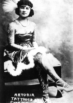 """This photo, """"Artoria Gibbons, Tattooed Lady,"""" is part of the new exhibit """"Tattooed and Tenacious: Inked Women in California's History"""" at the Channel Islands Maritime Museum."""