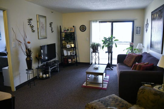 Town Meadows senior living facility resident Josephine Moore's living room.