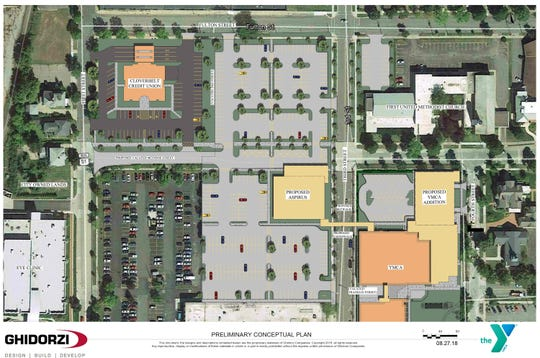 A view of how the proposed YMCA expansion and renovation will affect downtown Wausau.