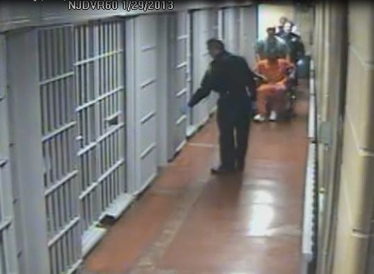 Westchester County Jail inmate Rashod McNulty is wheeled back to his jail cell on Jan. 29, 2013. Thirty minutes later a corrections officer found him unresponsive. McNulty was later pronounced dead from a heart attack.