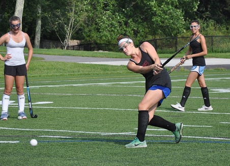 John Jay-Cross River's Cara O'Reilly takes shot during 2018 preseason workout.