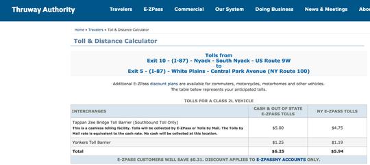 Thruway Toll & Distance Calculator