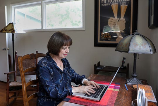 Carol Evans, chief relationship officer of Respectful Exits, a nonprofit which seeks to shift the way corporations and individuals think about retirement, allowing older workers to work longer if they wish, working from her home in Ossining Aug. 27, 2018.