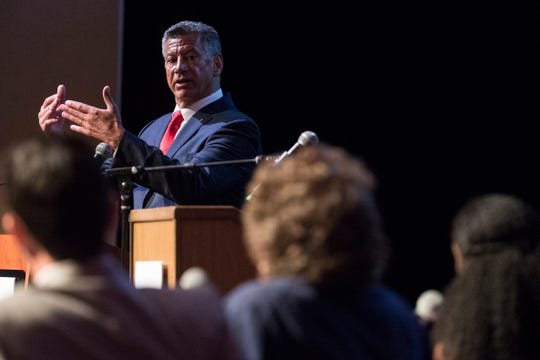 Gene Truono, a Republican primary candidate for U.S. Senate, answers questions during a Q&A panel Monday night at Cab Calloway School of the Arts in Wilmington.