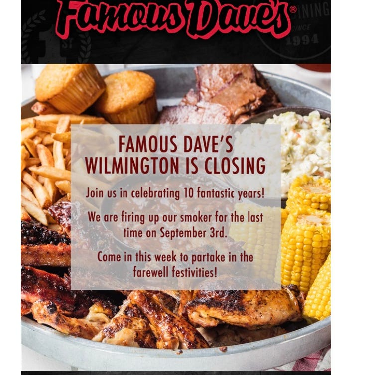 Famous Dave's closing Talleyville site Sept. 3
