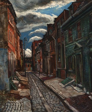 Wilmington painter Edward Loper Sr.'s 'Elfreth's Alley from 1948 is part of the Delaware Art Museum's exhibit featuring art given to it by the Hotel du Pont.