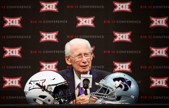 FILE - In this July 17, 2018, file photo, Kansas State football head coach Bill Snyder speaks during NCAA college football Big 12 media days in Frisco, Texas. Bill Snyder's record as a head coach is marvelous when he has a returning quarterback with big-game experience, and that should bode especially well for Kansas State this season. That's because he has two of them.  (AP Photo/Cooper Neill, File)