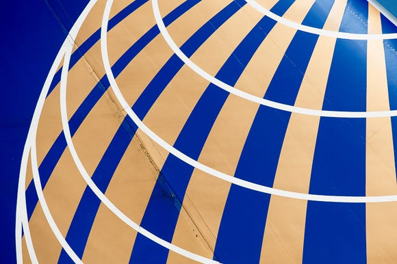 A United Airlines logo is seen at Washington Dulles International Airport on June 29, 2018.
