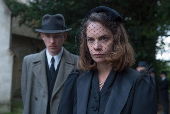 "Ruth Wilson (with Domhnall Gleeson) is an aristocratic lady perplexed by the bad stuff happening at her family estate in ""The Little Stranger."""
