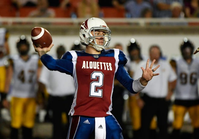 Montreal Alouettes quarterback Johnny Manziel throws a pass during an Aug. 3 CFL game against the Hamilton Tiger-Cats.