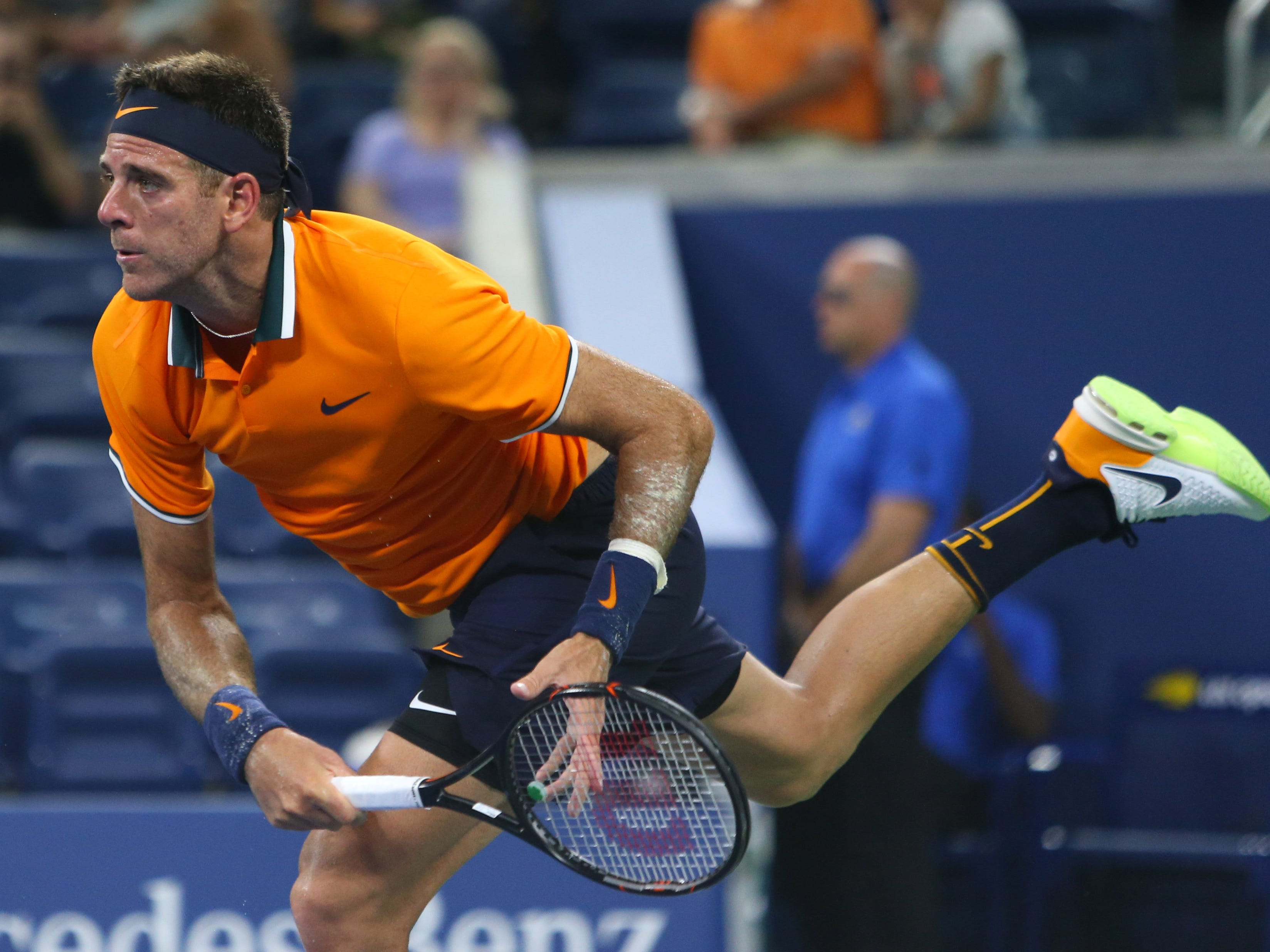 Juan Martin Del Potro of Argentina breezes past Donald Young of the USA 6-0, 6-3, 6-4.