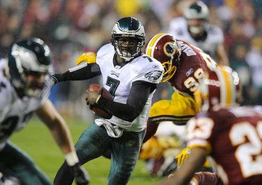 Former Philadelphia Eagles quarterback Michael Vick (7) scored 40 first-half fantasy points vs. the Redskins in a memorable 2010 thrashing -- as part of his redemption tour.