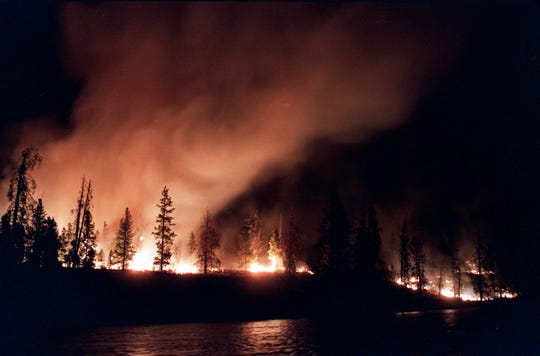 A forest fire blazes out of control in Yellowstone National Park on Sept. 2, 1988. The blaze eventually burned 36 percent of the park.
