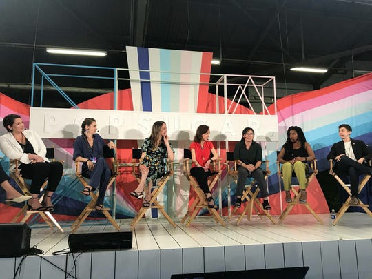 Authors participate in a PopSugar Play/Ground panel for women authors whose books have been optioned in Hollywood. The panel was set up by Crystal Patriarche.