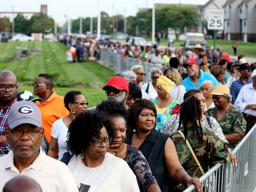 Aug. 28, 2018; Detroit, MI, USA; Hundreds wait in line that wraps around the building for the viewing of Aretha Franklin at the Charles H. Wright museum in Detroit on Tuesday, Aug. 28, 2018. Franklin will lay in state for 2 days.  Mandatory Credit: Kimberly P. Mitchell/Detroit Free Press via USA TODAY NETWORK ORIG FILE ID:  20180828_ajw_usa_353.jpg