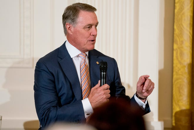 Sen. David Perdue, R-Ga., speaks at a roundtable during an event to salute U.S. Immigration and Customs Enforcement (ICE) officers and U.S. Customs and Border Protection (CBP) agents in the East Room of the White House in Washington, Aug. 20, 2018.