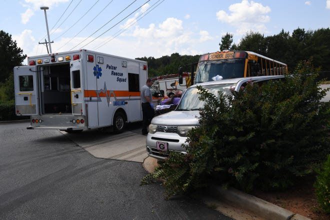 A school bus was involved in a wreck at a gas station in Anderson County on Wednesday afternoon.