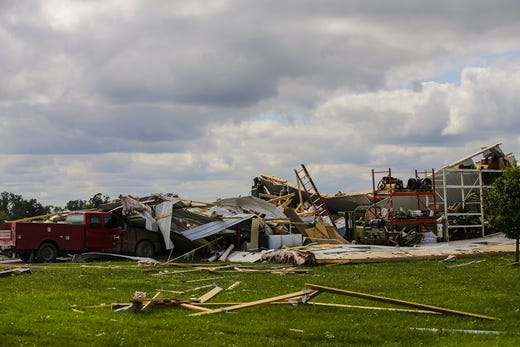 A Pole shed lies in ruins Wednesday, August 29, 2018, at W12072 Hemp Road near Waupun, Wisconsin. Heavy weather hit the Waupun area, causing major damage on Tuesday afternoons and affecting a potential tornado in some places. Doug Raflik / USA TODAY NETWORK-Wisconsin