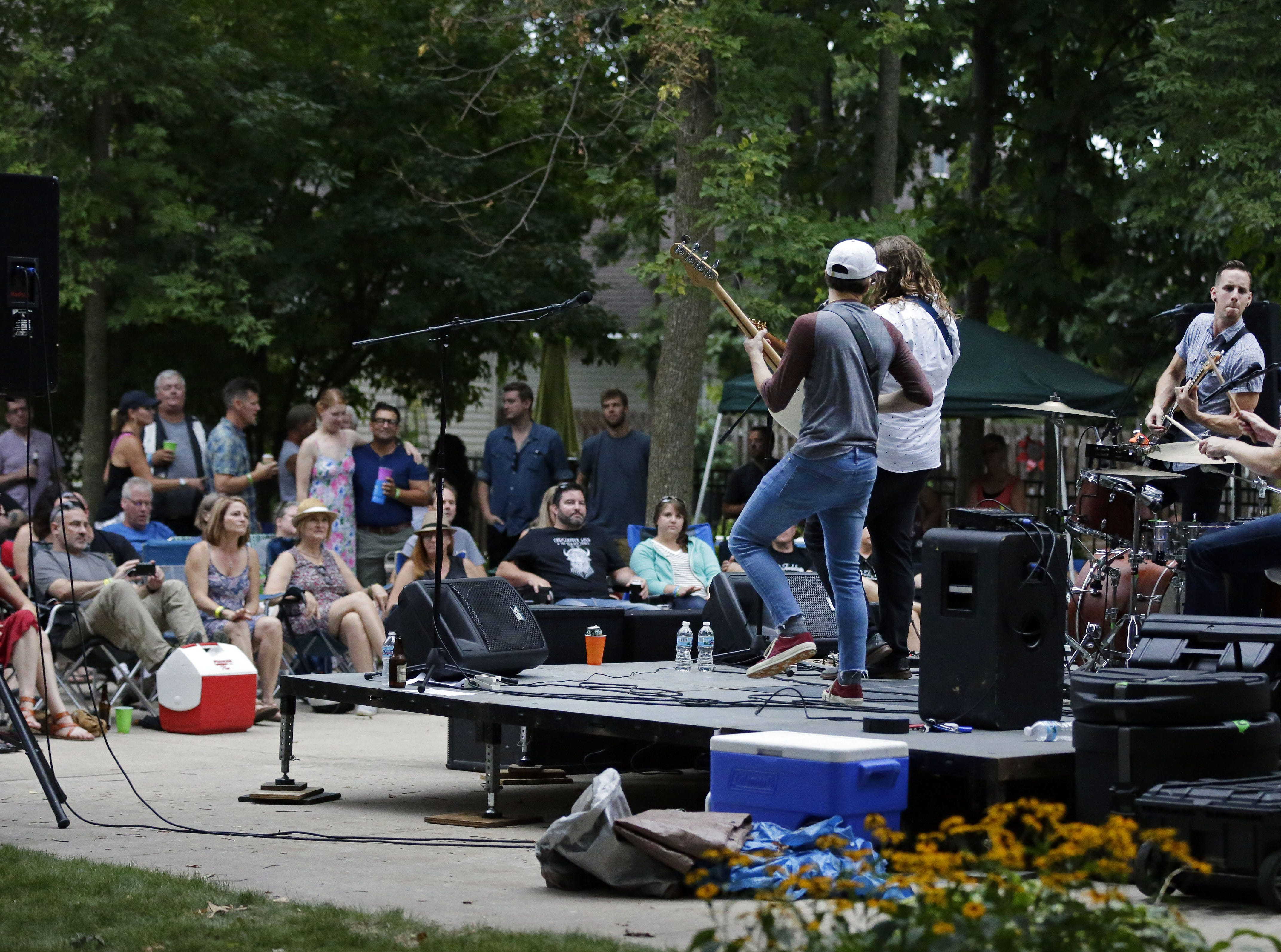 Me Like Bees perform on Aug. 26 at the home of Todd Van Hammond in Appleton.