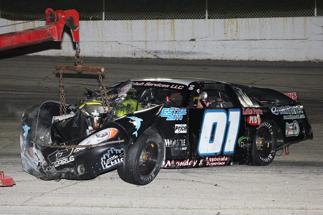 """The late model car of Appleton's Bryan Monday was totaled in a high-speed wreck at Wisconsin International Raceway in Kaukauna last Thursday. Monday and his crew have rebuilt his old race car and will have it ready for the final night of weekly racing on championship night for """"Thursday Night Thunder."""""""