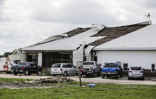 A metal roof showing damage on Wednesday, August 29, 2018, at W12072 Hemp Road near Waupun, Wisconsin. Heavy weather hit the Waupun area, causing major damage on Tuesday afternoons and affecting a potential tornado in some places. Doug Raflik / USA TODAY NETWORK-WISCONSIN