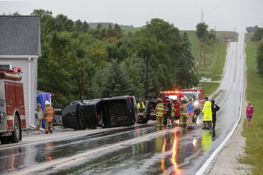 A pickup lost control and pruned a home in 13815 County Road F when the weather came through the area Tuesday, August 28, 2018, in Wilders, Wisconsin