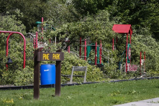 Several trees are scattered in playground equipment Wednesday, August 29, 2018, at Pine Park in Waupun, Wisconsin. Heavy weather hit the Waupun area, causing major damage on Tuesday afternoons and affecting a potential tornado in some places. Doug Raflik / USA TODAY NETWORK-Wisconsin