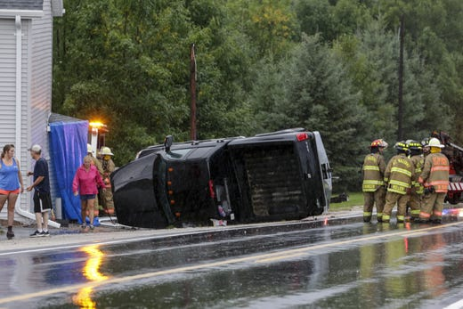 A pickup truck lost control and pruned a home in 13815 County Road F when bad weather hit Valders on August 28, 2018, Wisconsin