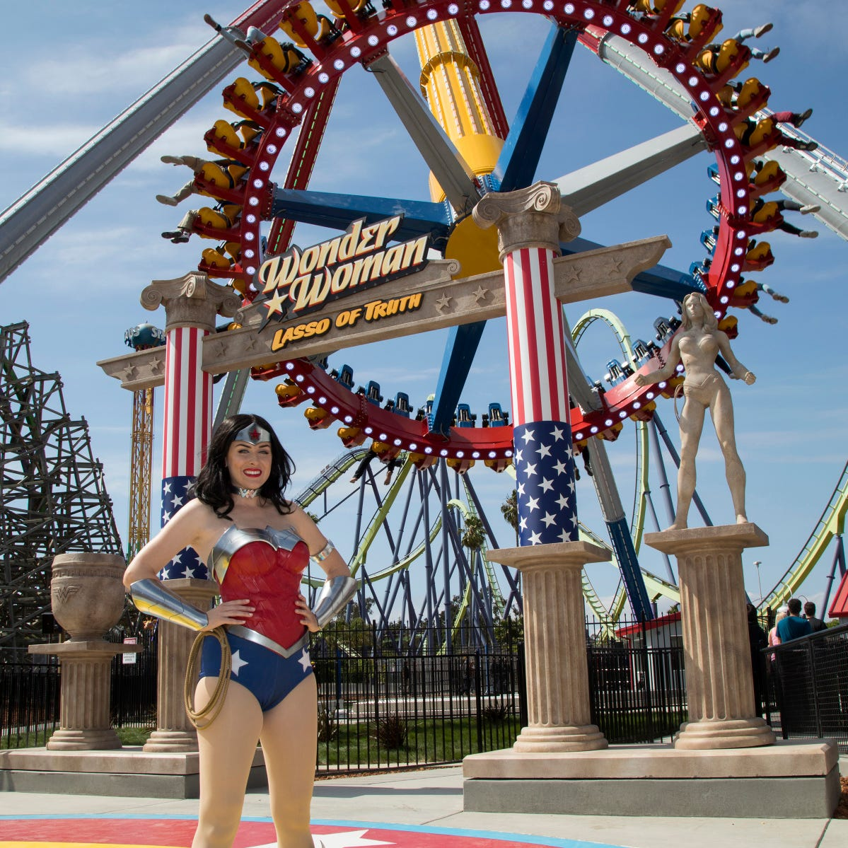 Wonder Woman is seen outside the Wonder Woman Lasso of Truth ride at Six Flags Discovery Kingdom in Vallejo, California. A taller version of the ride comes to Six Flags Great Adventure in Jackson next year.