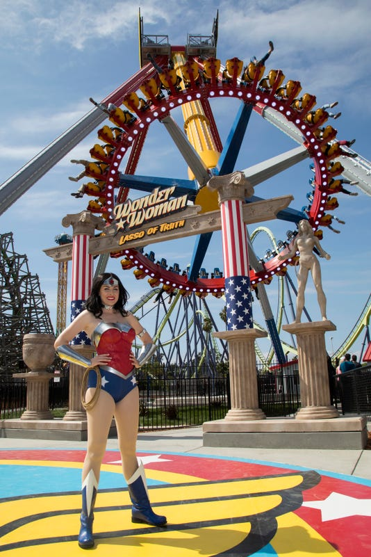 Wonder Woman Is Seen Outside The Wonder Woman L O Of Truth Ride At Six Flags Discovery Kingdom In Vallejo California A Taller Version Of The Ride Comes