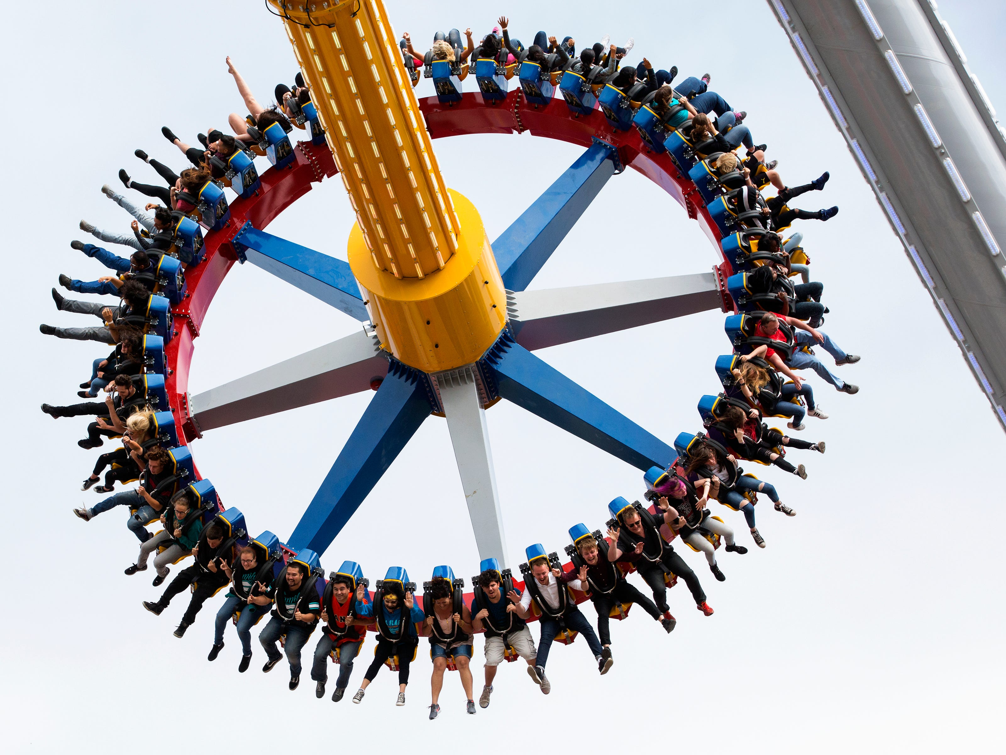 The Wonder Woman Lasso of Truth ride at Six Flags Discovery Kingdom in Vallejo, California. A taller version of the ride comes to Six Flags Great Adventure in Jackson next year.