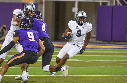 Monmouth receiver Reggie White Jr. turns upfield against Northern Iowa.