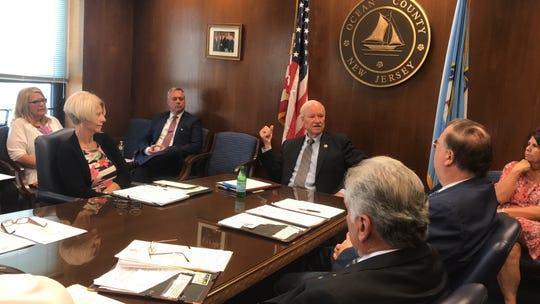 Ocean County Freeholder John C. Bartlett Jr. (center) chairs his last Freeholder meeting on Wednesday, August 29, 2018.