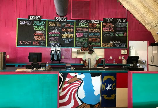 Inside the new White Duck Taco Shop as it prepares to open.
