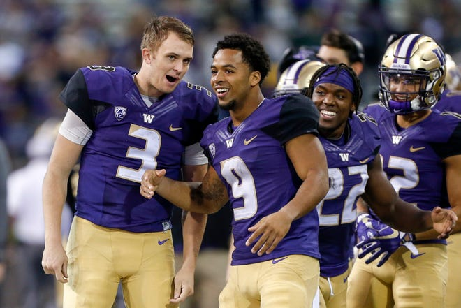 Washington's two senior leaders on offense, quarterback Jake Browning (3) and running back Myles Gaskin, both are entering their fourth year as starters. The two haven't always seen eye-to-eye off the football field.