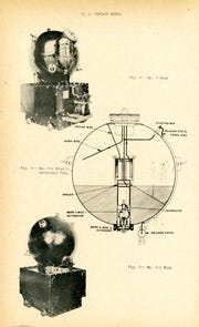 Images of the MK 6 mine, which was a moored contact mine used by the U.S. Navy during World War I and World War II. The images are from an ordnance pamphlet published by the Navy Department Bureau of Ordnance in November 1944.