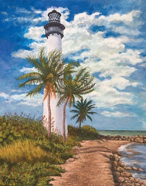 """""""Florida Lighthouse,"""" a work by Stephanie McKinnon, is part of the """"Teacher's Pet"""" show at Fifth Avenue Art Gallery in Eau Gallie. The September exhibit highlights the works of art instructors and their students."""