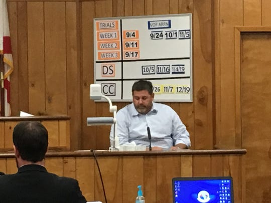 "John ""Casey"" Smith takes the stand during the immunity hearing for his accused shooter, Port St. John resident John DeRossett. The hearing was in August 2018."