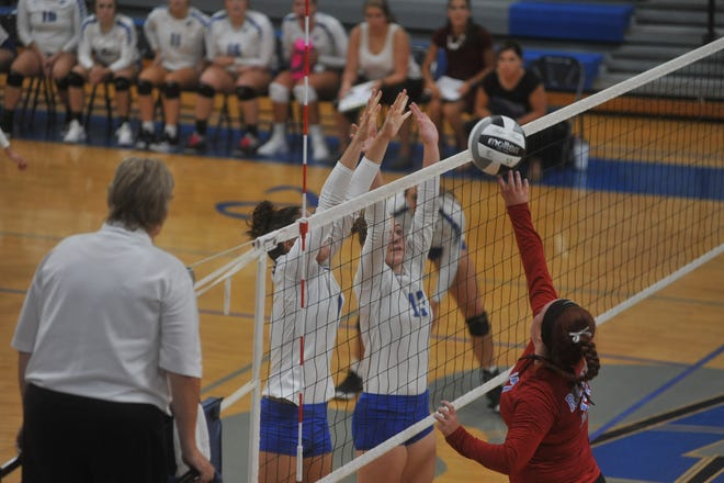 Wynford's Lyndie Williams (13) and Averi McMillan (1) attempt to block Ridgedale's Tory Bennett.