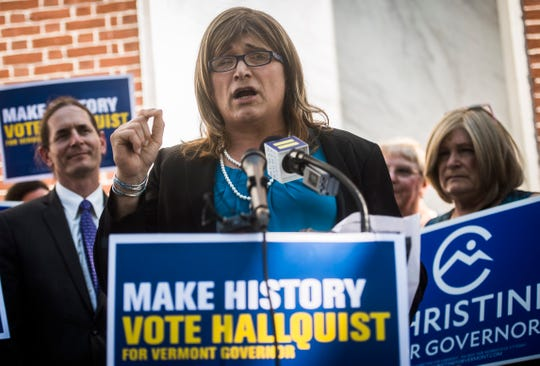 Vermont Democratic gubernatorial candidate Christine Hallquist was endorsed by the Human Right's Campaign, announced at a news conference on Wednesday, August 28, 2018, in Burlington.