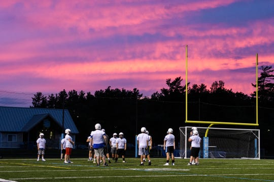 The players run drills during the first practice of the season for the South Burlington/Burlington Seawolves at South Burlington High School on Monday evening August 13, 2018 in South Burlington.