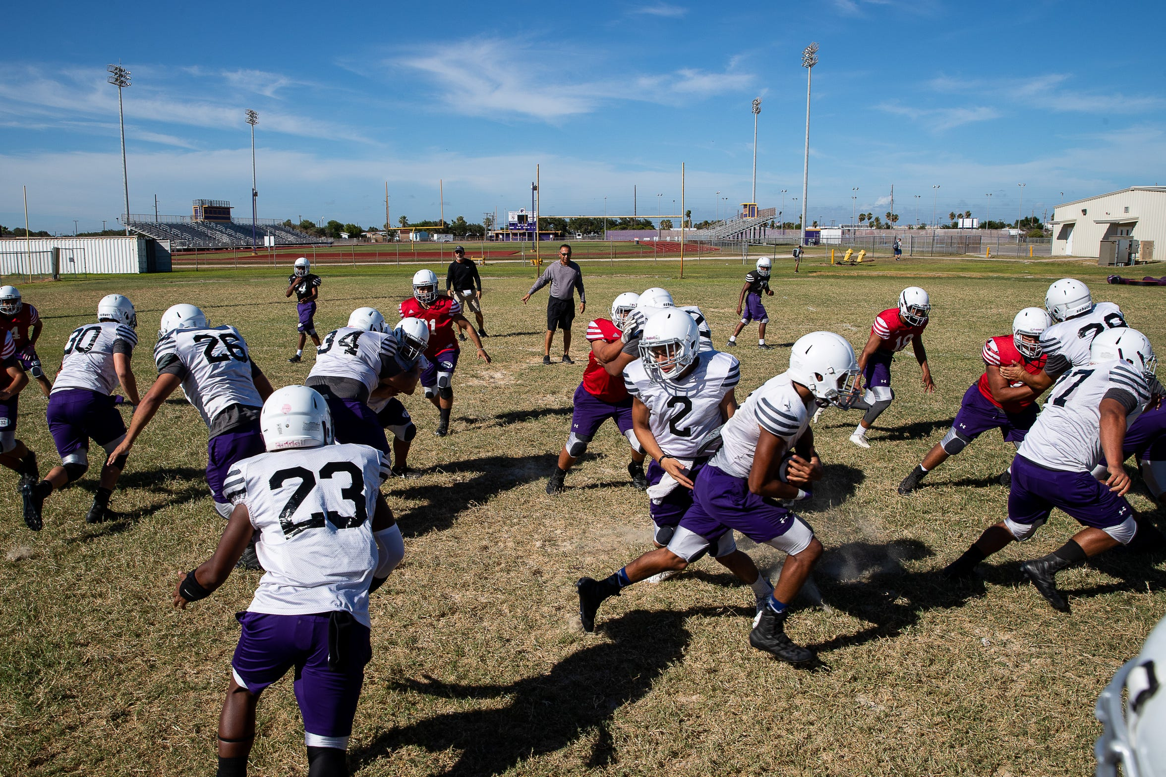Aransas Pass runs plays during practice on Tuesday, Aug. 28, 2018 ahead of Fridays game against Rockport-Fulton. In 2017 Aransas Pass and Rockport-Fulton's game was canceled do to Hurricane Harvey.