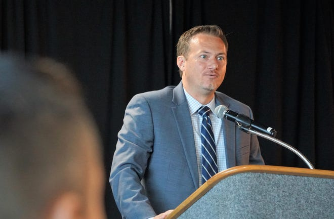District 27 Congressman Michael Cloud addresses those gathered for this year's State of Energy luncheon at the Congressman Solomon P. Ortiz International Center on Aug. 29, 2018.