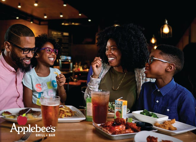 Families who eat at Applebee's restaurants on Labor Day will receive two free kids' meals with the purchase of each adult entree.