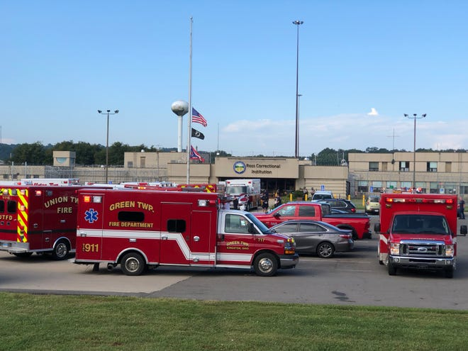 Various law enforcement and medical crews respond to Ross Correctional Institution where several correction officers and inmates have been exposed to an unknown substance, causing overdose-like symptoms.