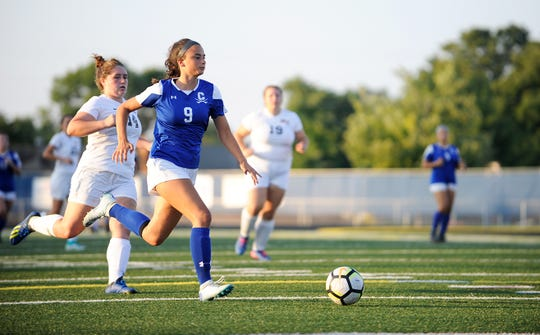 Chillicothe's Addie Erslan looks to score in a 3-2 win over Miami Trace during the 2018 season. Erslan went on to win the FAC Player of the Year award that year.
